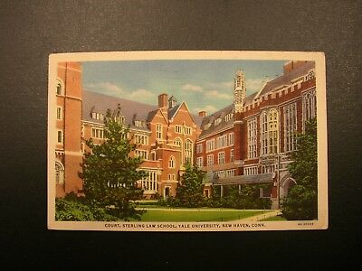 c1941 Vintage Linen Sterling Law School at Yale in New Haven, CT Postcard