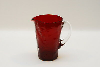 Morgantown Crinkle Ruby Red Pitcher 6.5 Inch