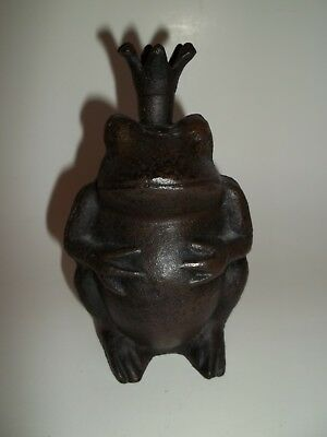 Cast Iron Sitting Crown Prince Frog Holding Belly Figurine Door Stop Decor 6""