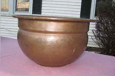 Vintage Hammered Copper Jardiniere Large Handmade Planter Metal Lined Antique
