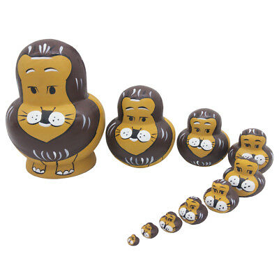 10pcs Wooden Russian Nesting Dolls Matryoshka Lions Hand Painted Gifts Decor