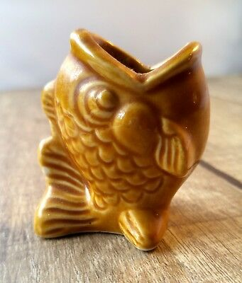 Vintage 1970s Fish Toothpick Holder Ceramic Gold Wide Mouth Retro Tooth Pick