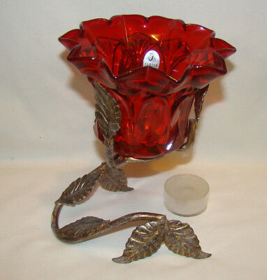 FENTON Ruby Red Glass Voltive with Leaf Stand #6900RU