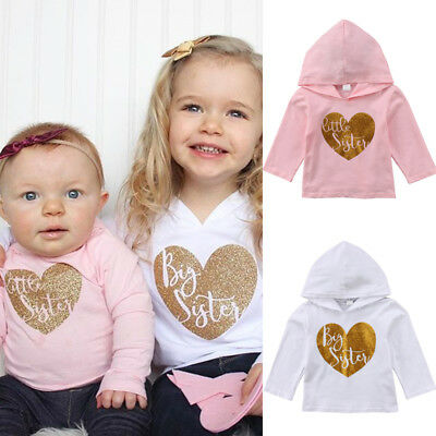 Toddler Kid Baby Girl Sister Matching Clothes Hooded Hoodie Tops T-shirt Shirt A