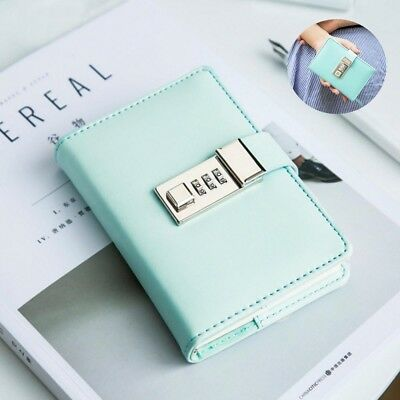 A7 Faux Leather Journal Diary Notebook Paper Weekly Notepad with Password Lock