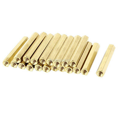 20 Pieces M4 Female Threaded PCB Brass Standoff Spacer 40mm High Gold Tone M4x40