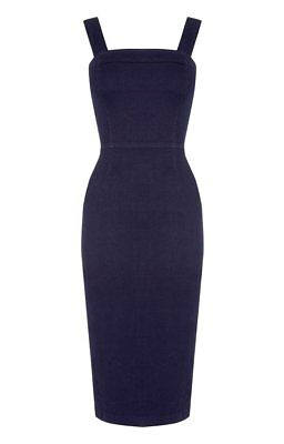 a569631f1e72 NEW OASIS WOMENS Ladies Navy denim pinafore midi dress size 8 10 12 ...