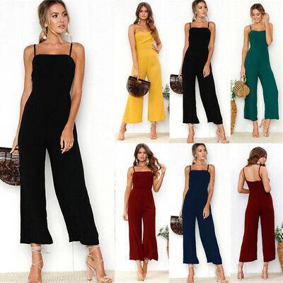 Boho Womens Strappy Holiday Long Playsuit Dress Trousers Casual Beach Jumpsuit