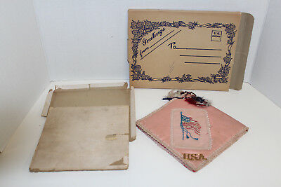 Ww1 Military Memories Silk Book; Usa Soldier 48 Star Flagpocketcord Dated 1918