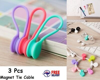 3 Pcs Magnetic Tie Cable Organiser Headphone Earphone Cord Winder Holder Clip