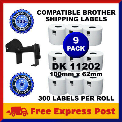 9 Rolls DK11202 Compatible Brother DK 11202 White Labels 62mm x 100mm Cartridge