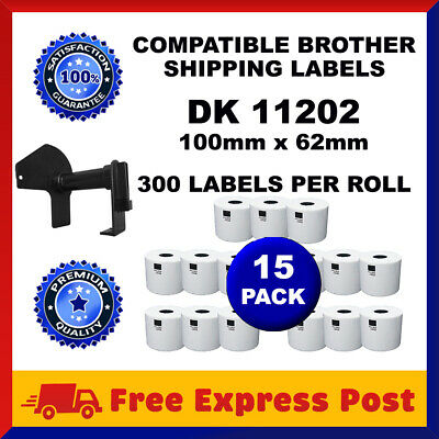 15 Rolls DK11202 Compatible Brother DK 11202 Shipping Labels 62x100mm Cartridge