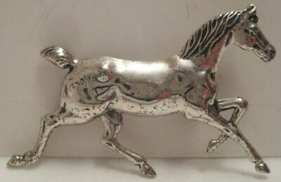 """Beautiful Old Sterling Silver Running Horse Pin 1  3/4"""" long 1950s-60s Nice!"""