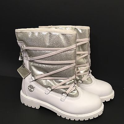 Timberland Boots White Leather Silver Shaft Boots RARE Style 72919 EUC Size 6.5