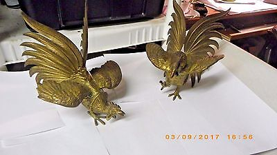 """Vintage Pair Large Solid Brass Fighting Cocks Roosters Art Deco Solid Brass 8"""""""