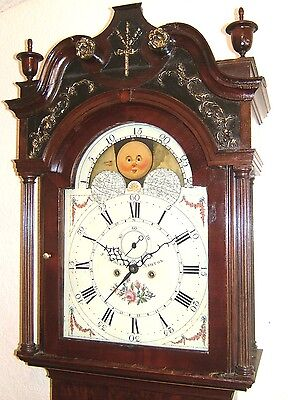Beautiful Georgian Mahogany & Inlaid Moonroller Longcase Grandfather Clock C1790