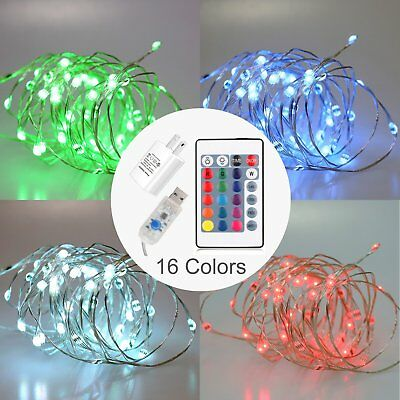 JOEONE LED String Lights USB AC Power - Timer Remote Control Dimmable, 16ft 50 L