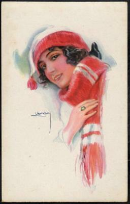 Vintage Art Deco Postcard - Beautiful Girl Dressed in Red Hat & Scarf  - Usabal