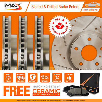 2000 2001 Cadillac Deville (See Desc.) Slotted Drilled Rotor Max Pads F+R