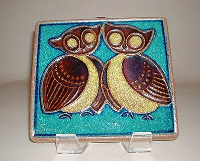Mid Century Danish Modern Wall Tile Soholm Denmark, Double Owls, Wall Decor