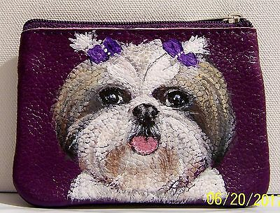 hand painted Shih Tzu dog portrait genuine leather coin purse keyring