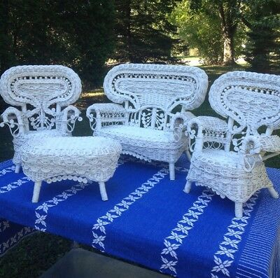 White Wicker Ornate Victorian Furniture Doll Play Set Of 4
