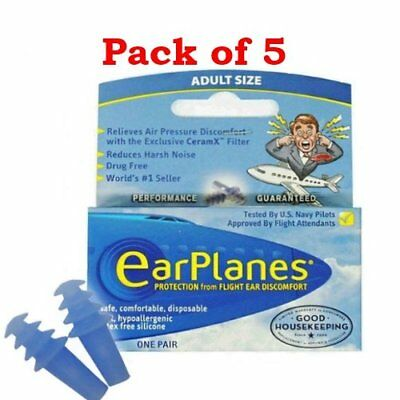 EarPlanes, Protection From Flight Discomfort Safe Comfortable, Adult (5 PACK)