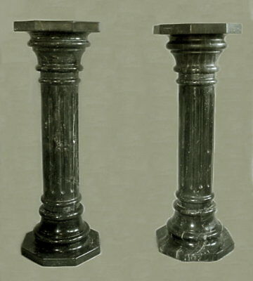 Beautifull Large Pair Of Carved Italian Solid Marble Pedestals Circa 1900