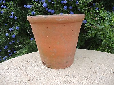 "Rare Old Hand Thrown Vintage Terracotta Plant Pot Side Drainage 10""  (1)"