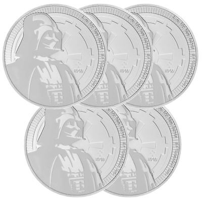 2017 Darth Vader 1 oz Star Wars Silver Coin | Lot of 5 New Zealand Mint Coins