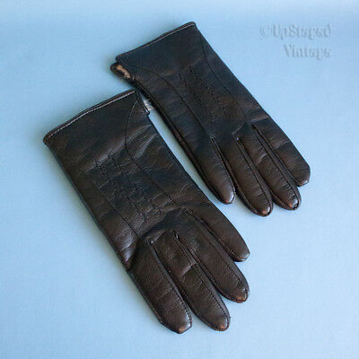 Vintage 70s/80s Black Soft Leather Ladies Fur Lined Winter Glove 6½ FREE UK P&P