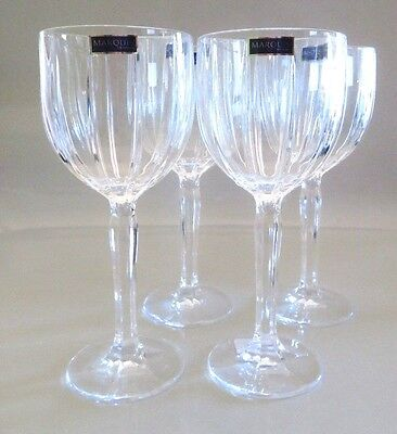 """Set 4 New Waterford Marquis Omega Irish Cut Crystal 8.5"""" Water Wine Goblet Glass"""