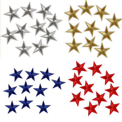 10 Pcs Star Embroidered Garment Applique Sew Iron on Patches Badges  Fabric