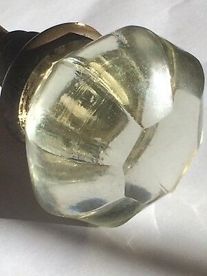 Vintage Antique 8 Point Crystal Glass Door Knobs ** White Yellow Hue Color**