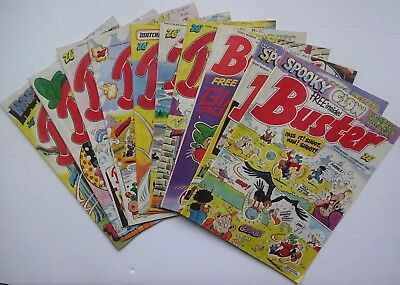 Buster - Comic - Job Lot Of 10 Issues From 1988 W/rare Poster (Beano/dandy)