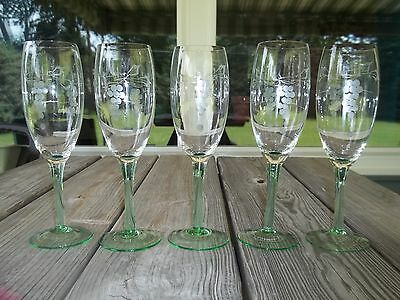 Vtg 5 Depression Tall GREEN Stemmed Floral Etched WINE Glasses 7.75""