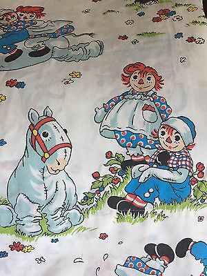 Two- Raggedy Ann & Andy w/ Camel Twin Flat Sheets Bobbs Merrill Sheet EUC Vtg