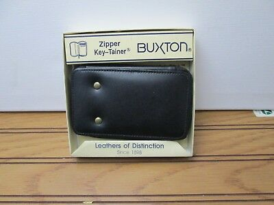 Vintage Buxton Zippered Key Tainer 6 Hook w/ Inside Pocket Black Cowhide Leather