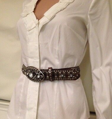 GUESS Brown Belt with silver studs and mother of pearl adorned buckle