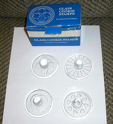 Vintage William Sonoma Four Glass Kitchen Cooking Cookie Butter Stamps Art Molds