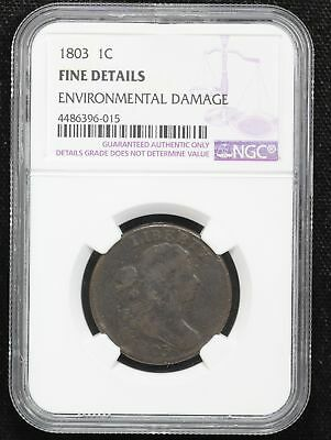 1803 Large Cent NGC F-12 SMALL DATE & SMALL FRACTION