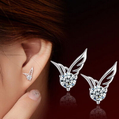 New Women 925 Silver Crystal Butterfly Angel wings Stud Earrings