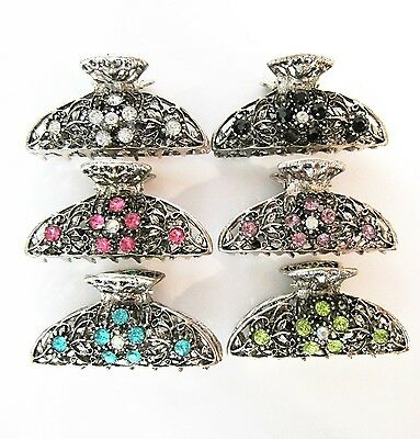Antique style silver metal hair claw clips with crystals