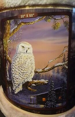 Snowy Owl Throw Blanket Dawns Outpost Artist Terry Doughty 50X60 100% Polyester