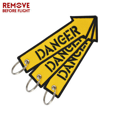 3Pcs Embroidery DANGER Key Fob Keychain for Motorcycles and Cars Key Tag Yellow
