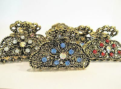 Antique style bronze metal hair claw clips with crystals