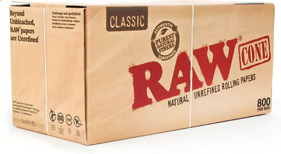RAW Prerolled CONES 800 Count KING SIZE Natural Classic Unrefined Rolling Papers