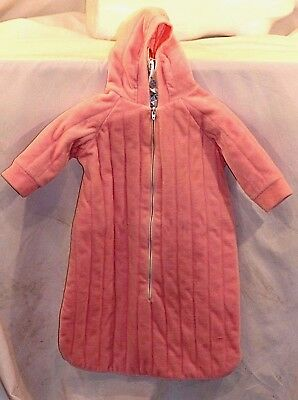 Schwab Girls Pink One Piece Hooded Size 0-3 Months Terrycloth Zipper