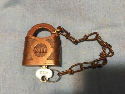 Vintage Yale & Towne Brass Padlock, Clevis Chain, Key, WORKS SMOOTHLY!!