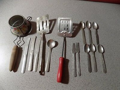 Childs Toy Kitchenware Utensil Lot wood red Handle Sifter spatula ALM silverware